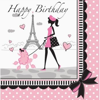Party in Paris Happy Birthday Lunch Napkins 18 Per Pack