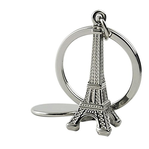 SiCoHome Metal Eiffel Tower Statue Figurine Replica Jewelry Stand Holder French Souvenir Gift From Paris, France,Eiffel Tower Style Keychain Key Ring Silver (4cm Key Chain)