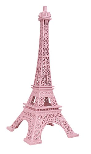 SiCoHome Metal Eiffel Tower Statue Figurine Replica Centerpiece Room Table Decor Jewelry Stand Holder French Souvenir Gift From Paris, France (18cm Pink)