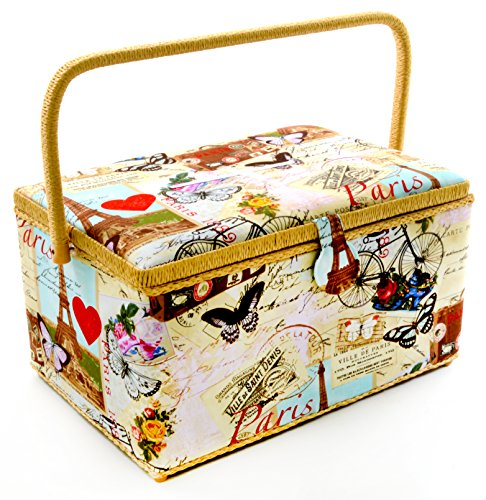 """Dritz St Jane Extra Large Rectangle Sewing Basket (X-Large 15-1/4"""" x 10-1/4"""" x 8-3/4"""", Paris Print Light Beige with Beige Trim with Bicycles Red Hearts Butterflys Eiffel Tower)"""