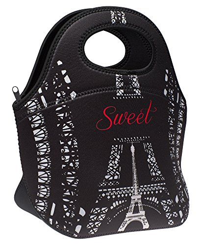 Neoprene Lunch Bag by SWEET CONCEPTS, Designer Insulated Lunch Tote, Large, Paris Design