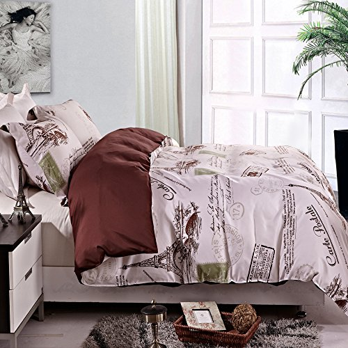 NTBAY 3 Pieces Eiffel Pattern Reversible Printed Microfiber Duvet Cover Set with Hidden Button (King, Eiffel)