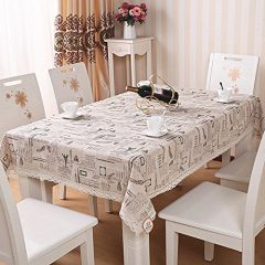 Linen Tablecloth 45 x 65-Inch Rectangular Linen Tablecloth Dining Table Cover Coffee table mat Eiffel Tower Pattern