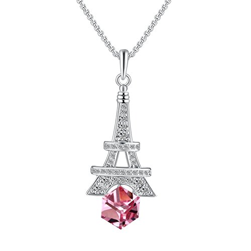 PLATO H Love Paris Eiffel Tower Jewelry Pendant Necklace Pink Cubic with Swarovski Crystals