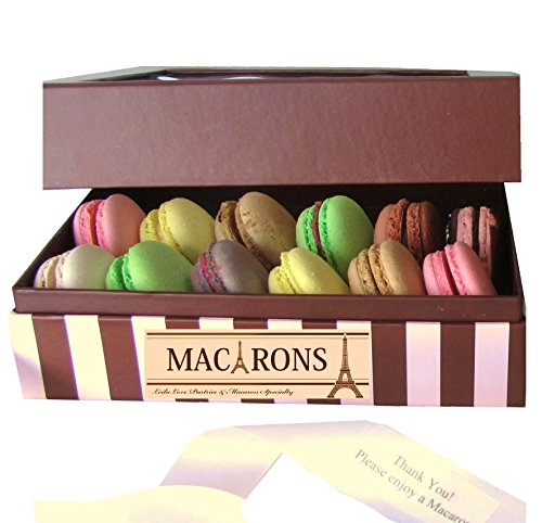 Leilalove Macarons 12 Macarons- Dozen Parisian Favorite Flavor Assortments- A gift to remember- Gift box may vary