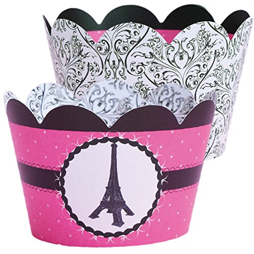 Paris Themed Cupcake Wrappers, Black and White Damask, Confetti Couture Party Supplies, 36 Wraps