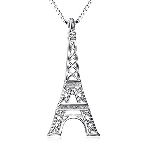 Angel caller Fashion Real 925 Sterling Silver Paris Eiffel Tower necklace Daughter Girlfriend Gift