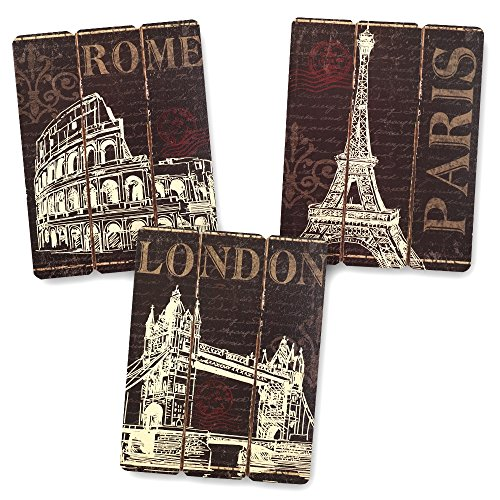 Paris, London and Rome Wooden Wall Art Home Decor, Set of 3