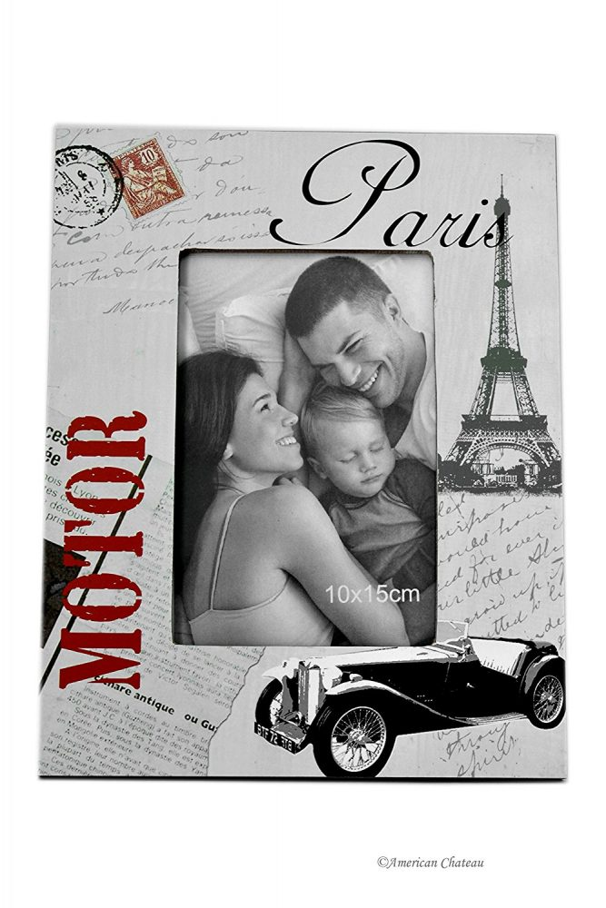Cool Eiffel Tower, Classic car photo frame for guys