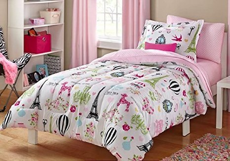 Pretty paris themed bedding for kids
