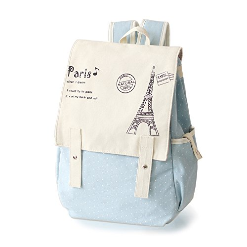 Light blue canvas backpack for girls who love Paris