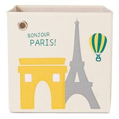Quality storage cube with a stylish Paris, Eiffel tower felt applique design, ideal for a Paris baby shower gift!