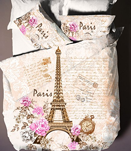 Paris, Eiffel Tower Vintage Themed Full/Queen Duvet Cover Set