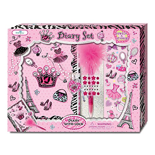Glamorous Pink Girls Journal With Key Lock and Pink Fluffy Pen