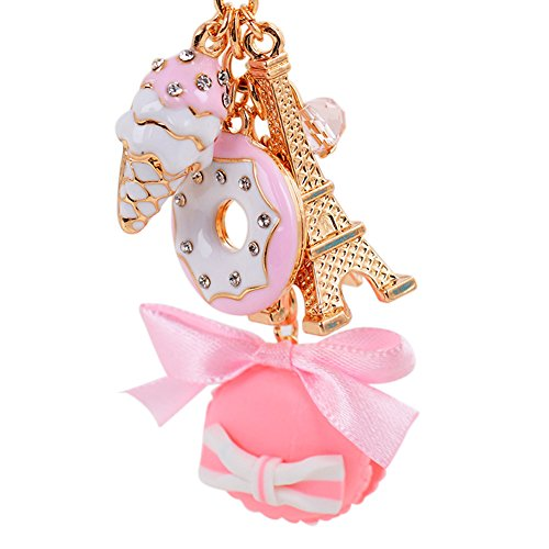 Paris, Eiffel Tower Keychain With Ice Cream, Cake Charms And Purse
