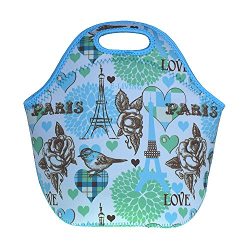 Blue Roses, Eiffel Tower Neoprene Lunch Box