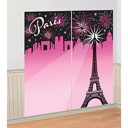 Eiffel Tower, Fireworks Pink Paris Party Backdrop