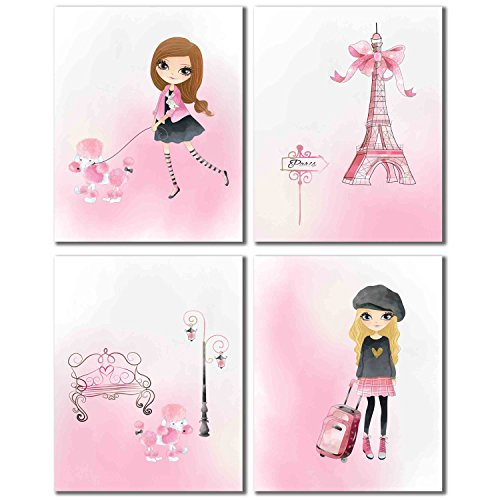 Paris Theme Set Of (4) Pink Glossy Prints, Wall Art